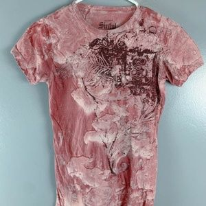 Sinful Stonewash Short Sleeve Red Size M T Shirt